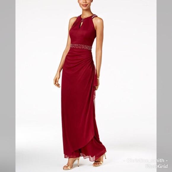 db41f036b6ce Betsy   Adam Embellished halter formal gown dress
